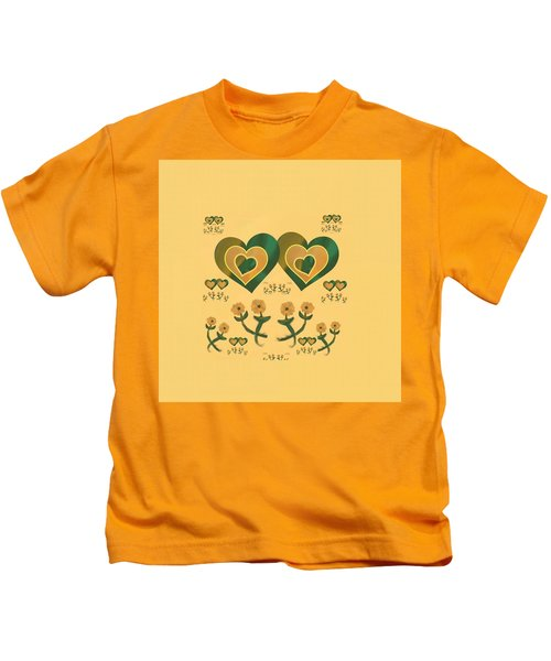 Multiple Tilted Hearts Bronze Kids T-Shirt