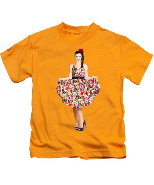 Beautiful Dancing Woman In Retro Red Dress Kids T-Shirt