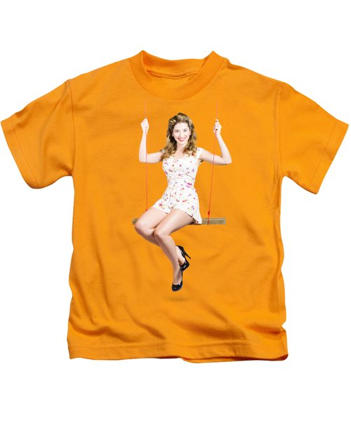 Beautiful Fifties Pin Up Girl Smiling On Swing Kids T-Shirt