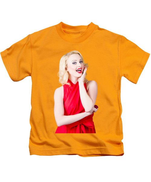 Beautiful Pin Up Girl Smiling And Whispering Kids T-Shirt