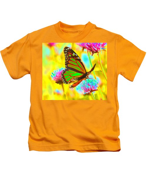 Butterfly Green  Kids T-Shirt
