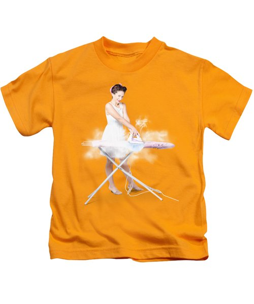 Cleaning Lady Steam Pressing Ironing Board Cover Kids T-Shirt