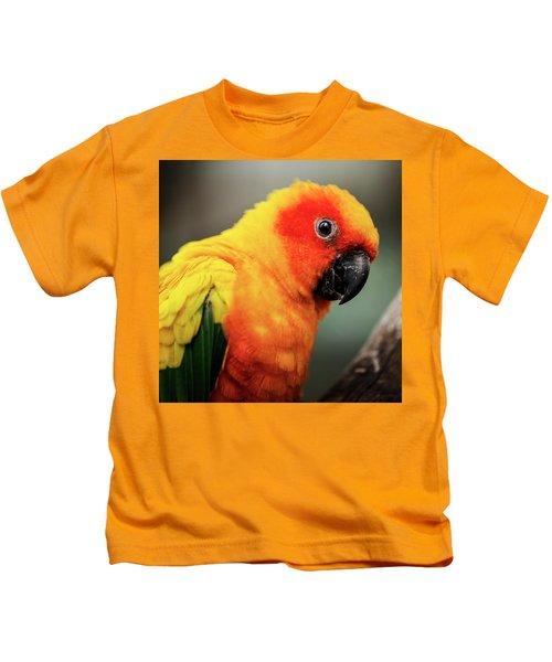 Close Up Of A Sun Conure Parrot. Kids T-Shirt