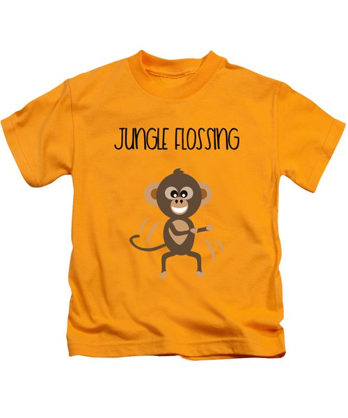 Cute Animal Monkey Jungle Flossing  Kids T-Shirt