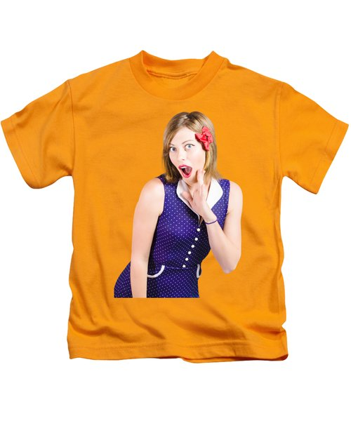 Cute Shocked Girl With Pinup Make-up And Hairstyle Kids T-Shirt