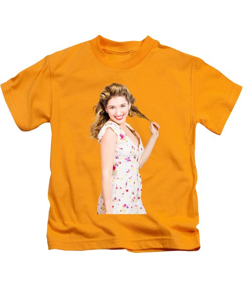 Female Model With Perfect Skin And Curly Hairstyle Kids T-Shirt