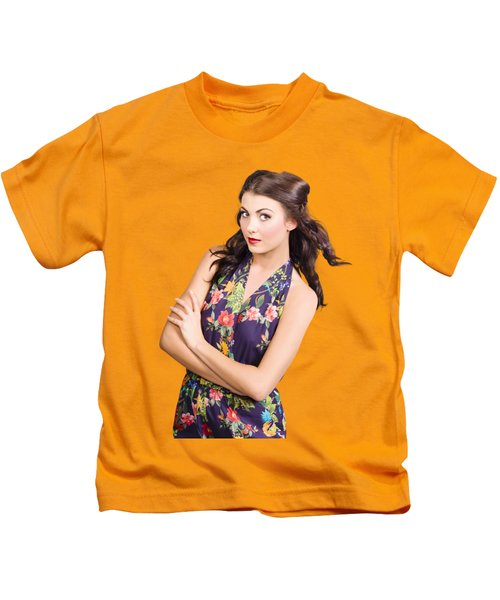 Glamour Portrait Of Beautiful Woman Makeup Model Kids T-Shirt