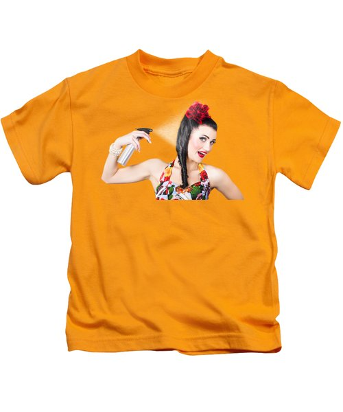 Haircare. Brunette Pinup Woman Using Hair Product Kids T-Shirt
