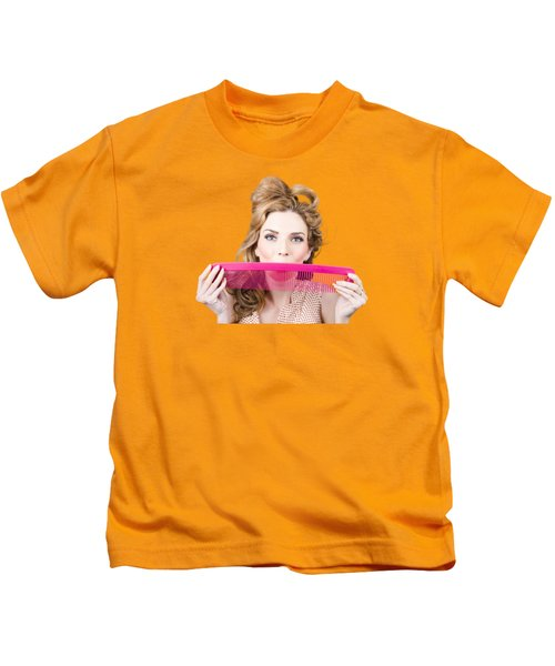 Happy Hairstyle Pinup Woman Smiling With Hair Comb Kids T-Shirt