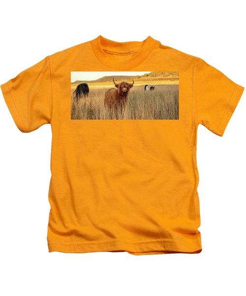Highland Cows On The Farm Kids T-Shirt