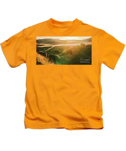Icelandic Landscapes, Sunset In A Meadow With Horses Grazing  Ba Kids T-Shirt