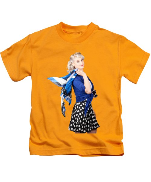 Isolated Caucasian Woman With Pinup Fashion Style Kids T-Shirt