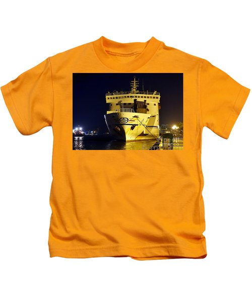 Large Ferry Docked In Port By Night Kids T-Shirt