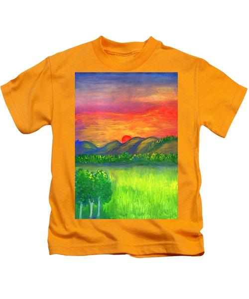 Mystical Red Sunset Kids T-Shirt