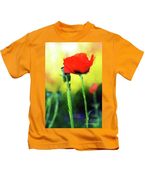 Painted Poppy Abstract Kids T-Shirt