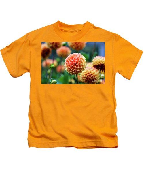 Peach Dahlias Kids T-Shirt