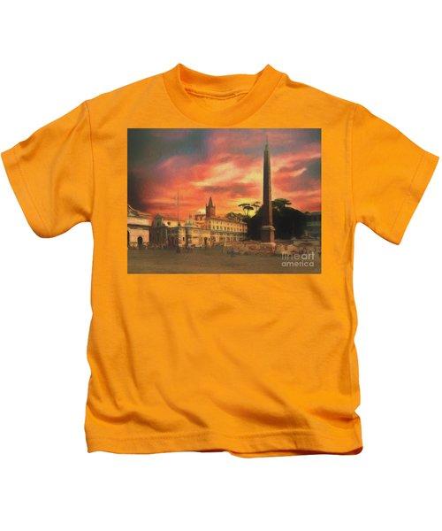 Piazza Del Popolo Rome Kids T-Shirt