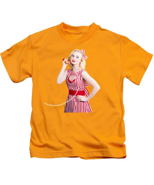 Pin Up Woman Ordering Organic Food On Banana Phone Kids T-Shirt