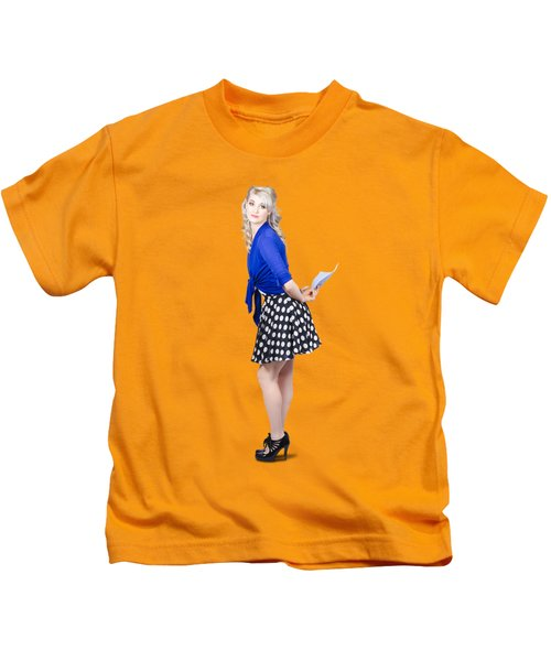 Pretty Housewife With Washing Cloth. Clean Style Kids T-Shirt