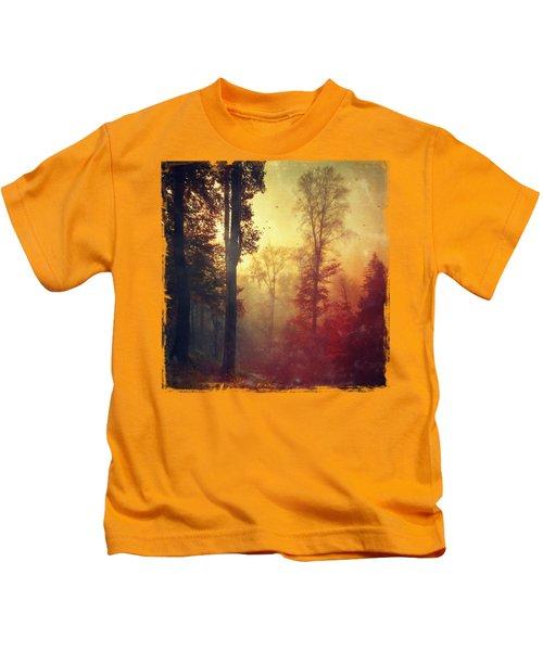 Quiet Morning - Misty Fall Forest Kids T-Shirt