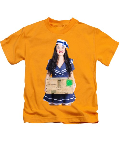 Sailor Pin Up Holding Nautical Supplies Kids T-Shirt