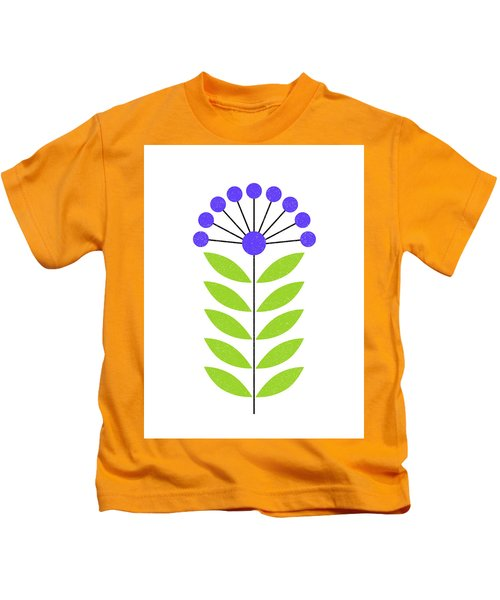 Scandinavian Royal Blue Flower Kids T-Shirt
