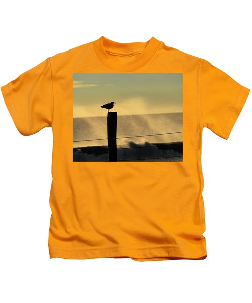 Seagull Silhouette On A Piling Kids T-Shirt