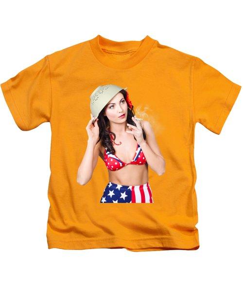 Smoking Hot American Military Pin-up Girl Kids T-Shirt