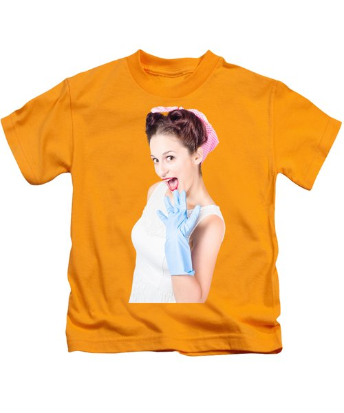 Stunned Cleaning House Wife Wearing Rubber Glove Kids T-Shirt
