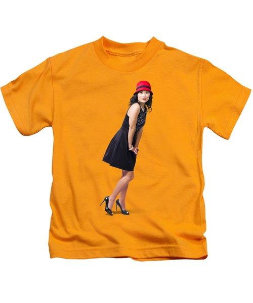 Stylish 1960s Fashion Pinup Woman Kids T-Shirt