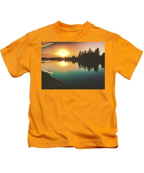 Sunset River Reflections  Kids T-Shirt
