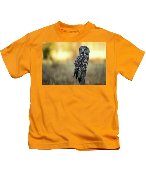 The Great Gray Owl In The Morning Kids T-Shirt