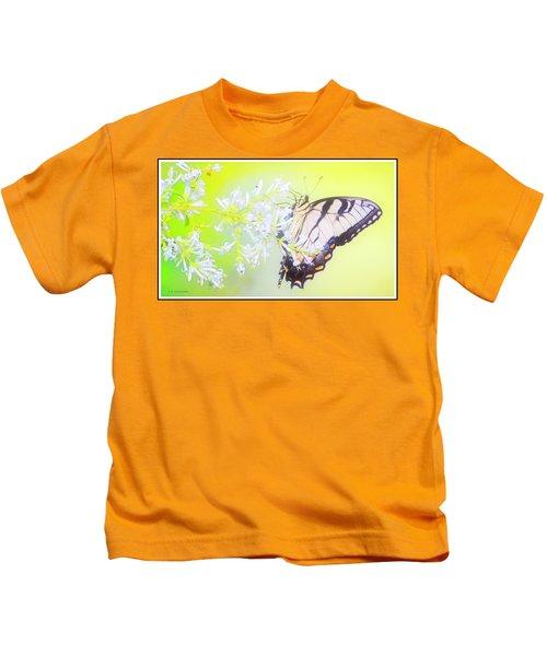 Tiger Swallowtail Butterfly On Privet Flowers Kids T-Shirt