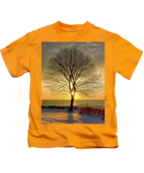 Tree Framed Sunrise New Hampshire Kids T-Shirt