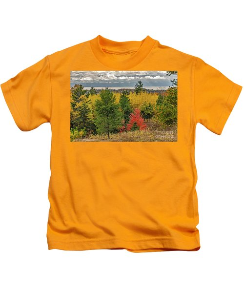 Vibrant Shades Of Red, Green, And Yellow Leaves Kids T-Shirt
