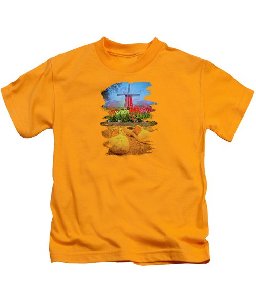 Yellow Wooden Shoes Kids T-Shirt