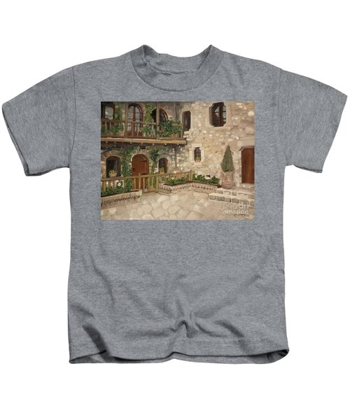 Greek Courtyard - Agiou Stefanou Monastery -balcony Kids T-Shirt