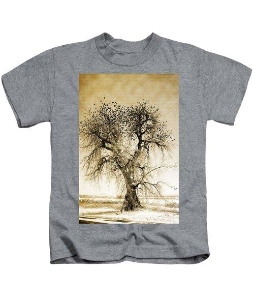 Bird Tree Fine Art  Mono Tone And Textured Kids T-Shirt