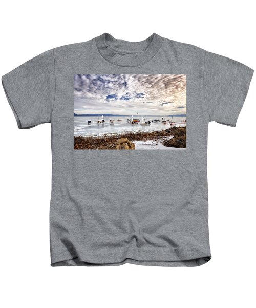 Ice Boats On Lake Pepin Kids T-Shirt