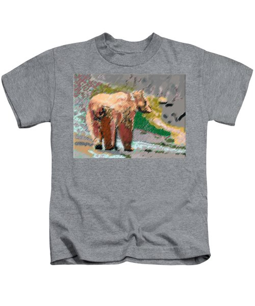 081914 Pastel Painting Grizzly Bear Kids T-Shirt