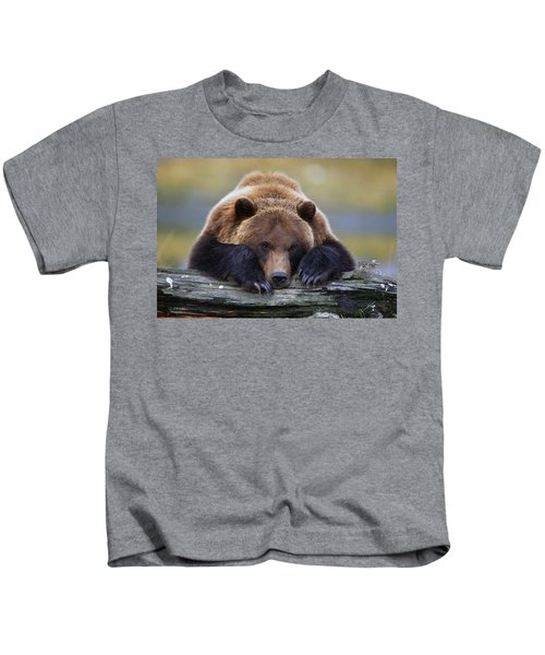 Captive Brown Bear Rests With It Front Kids T-Shirt