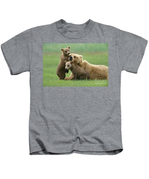 Grizzly Cubs Play With Mom Kids T-Shirt