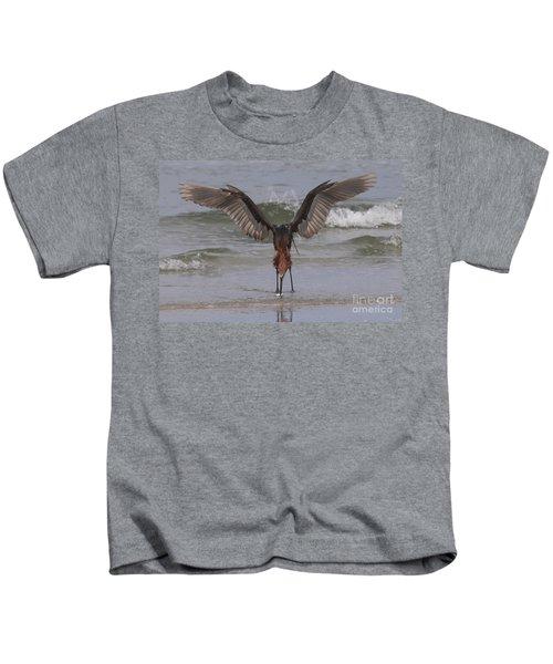 Reddish Egret Fishing Kids T-Shirt