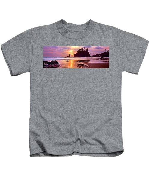 Silhouette Of Sea Stacks At Sunset Kids T-Shirt by Panoramic Images
