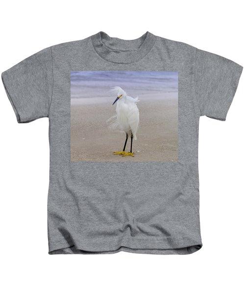 Snowy Egret At The Beach Kids T-Shirt