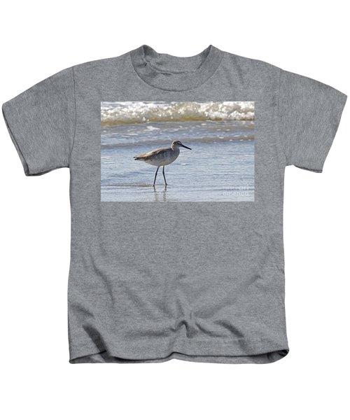 Willet Bird Wading In Ocean Surf Kids T-Shirt