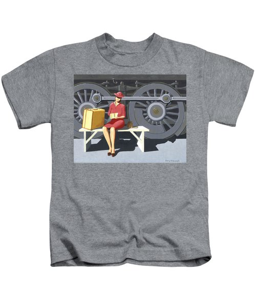 Woman With Locomotive Kids T-Shirt