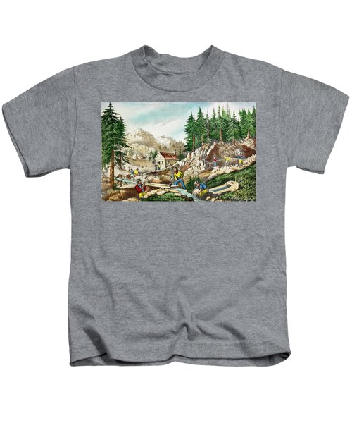1800s Currier & Ives Color Engraving Kids T-Shirt