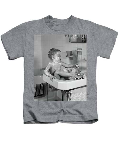 1940s Girl Sitting In Sink Lathered Kids T-Shirt