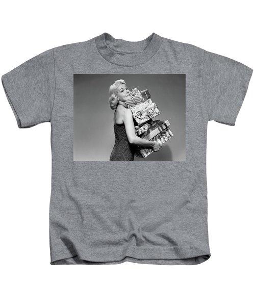 1950s Blond Woman Strapless Dress Kids T-Shirt
